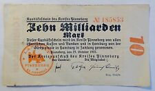 "Stadt Pinneberg 10/Zehn Milliarden Mark"" 25.10.1923 -Inflation- Notgeld"
