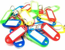 100 Coloured Plastic Key Assorted Tags Rings ID Luggage Label Name Car Keyring