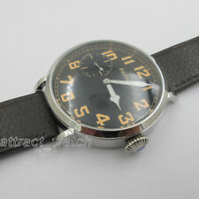 46mm Parnis Hand Winding Stainless Steel Case Men Mechanical Watch Leather Strap