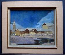 PAYSAGE MONTAGNE NEIGE NOËL impressionniste VILLAGE ALPES  signé A JOURDAN