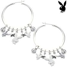 NEW Playboy Earrings Hoop Swarovski Crystal Silver Plated Bunny GENUINE NWT CZ