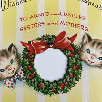 Vintage Mid Century Christmas Greeting Card Cute Kittens Cats Die Cut Wreath