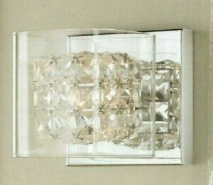 Weschler 1-Light Polished Chrome Vanity Light w/ Crystal & Clear Glass Shade