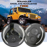 "2x7"" Inch Round Led Headlight Hi/Lo Beam Halo Angle Eye For Jeep Wrangler JK CJ"