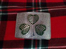 TC Men's Kilt Belt Buckle Irish Shamrock Green Enameled/Irish Shamrock Buckle