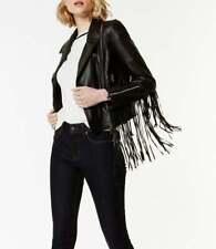 Mujeres Moderno Largo Flecos Chaqueta de motorista negro piel de cordero cuero chaqueta de moto