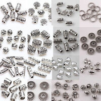 Wholesale 12-210pcs Silver Plated Loose Spacer Beads Charms Jewelry Making DIY