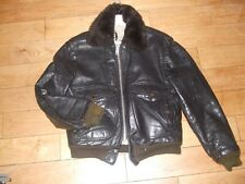 Schott vintage style cowhide brown leather flight bomber jacket 40