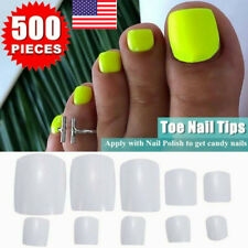 500Pcs False Fake Artificial Toe Nails Tips French Foot Tips Pro Nail Art Decor