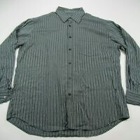 Bugatchi Uomo Mens Button Down Casual Shirt Men's Stripes Black Gray Dress XL