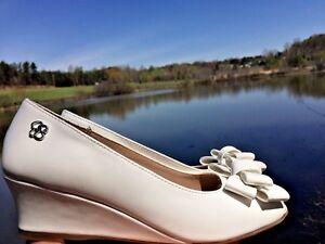 JESSICA SIMPSON Bow Toe High Heels WEDGES Wedding Flower Girl Girls Shoes Sz 1.5