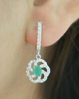 14k Solid White Gold Hoop Dangle Earrings with Natural Emerald & White Stones.