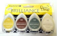 Tsukineko BRILLIANCE DEWDROP EARTH TONE 4 Ink Pads PIGMENT INK