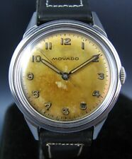 Vintage Movado Stainless Steel Hand Wind Mens Watch  15J Circa 1950