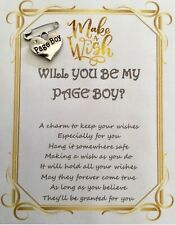 WILL YOU BE MY PAGE BOY WISH PIN WEDDING CHARM PAGEBOY CARD GIFT KEEPSAKE WISHES