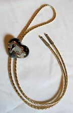 "19"" Long Ladies Heart Shape Bolo With Ceramic Southwest Theme Scene Gold Cord"