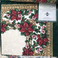Fashion Industries Cloth Christmas Napkins Boardered Accents Red Gold Green New