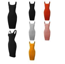 Ribbed Square Neck Sleeveless Midi Bodycon Dress