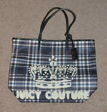 *Juicy Couture* NEW Blue & Cream crown logo tartan check tote bag