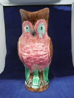 Antique 19th Century English Owl Majolica Pitcher