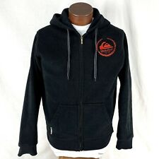 Quicksilver Full Zip Hoodie Heavy Black Red Logo Skateboard Adult Medium M