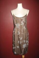 Tahari 100% silk 8 brown beige slip beaded floral sleeveless evening  dress