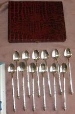 Indochine 12 longues cuillères à mazagran thé / café - Argent massif 900 / 1000