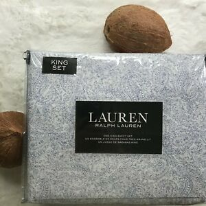 Lauren by RALPH LAUREN Luxury Cotton Blue Paisley Sketch Printed KING Sheet Set