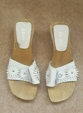 white leather clogs size 4