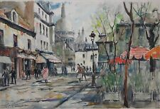 PIERRE CAMBIER-French Modernist- Two Original Signed WCs-French Street Scenes