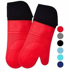 New listing Homwe Extra Long Professional Silicone Oven Mitt, Oven Mitts with Quilted Liner,