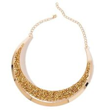 """Golden Chroma ION Plated YG Stainless Steel Bib Necklace (18"""" w/Chain)"""