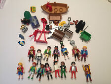 Lot of 15 Playmobile minifigures w lots of accessories Geobra figures T254