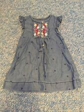 Blue Floral spotted Ruffle Cap Sleeved Summer Tunic Dress Baby Girls 3-6 Months