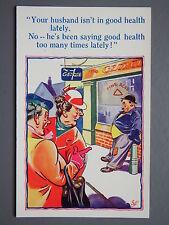 R&L Postcard: Comic, HB 6074 George Pub, Scruffy Man, Beer Drinking Joke