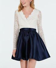 $280 Speechless Junior Women Blue Ivory Glitter-Lace Fit & Flare Party Dress 15