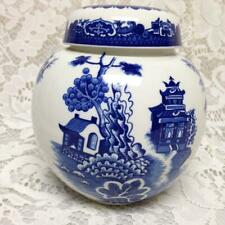 Vintage, Rare, Burgess & Leigh Blue Willow Ginger, Prune or Tea Jar 6in x 5in