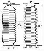 for NISSAN Bluebird T12 T72 no PAS 1985-92 Steering Rack Boot Kit FSG3133