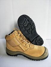Work Boots Steel Toe Safety. Wheat, Zip Scuff Cap Nubuck Suede Leather ZIP SIDER