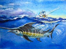 Watercolor Painting Blue Ocean Fish Marlin Fishing Boat Yacht Nature 5x7