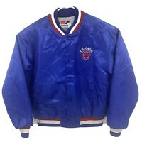 Vintage 1990 Chicago Cubs Swingster Satin Blue Jacket Sz XL