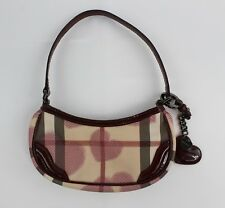 Burberry Tan Nova Check Heart Print Canvas Single Strap Patent Trim Shoulder Bag