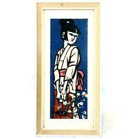 VTG Mid Century Modern Geisha Flowers Gravel Art Pebble Art Framed Wall MCM 18X9
