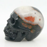 red white clouds black jade hand carved skull,realistic,crystal healing K452