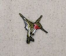 Small/Mini Hummingbird RIGHT/Ruby Red Throat Iron on Applique/Embroidered Patch
