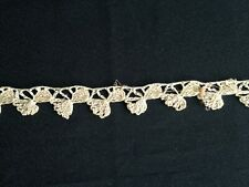Vintage Antique Hand Crocheted Lace Trim Edging Sewing Off White Beige Ecru