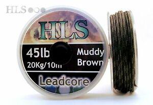 45lb Leadcore leader Carp fishing tackle. Camo Brown Green Muddy Silty - HLS