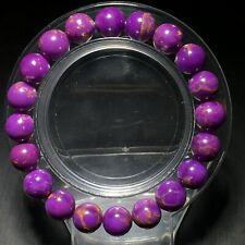 9.5mm Natural Phosphosiderite Purple Gemstone Round Beads Bracelet AAA