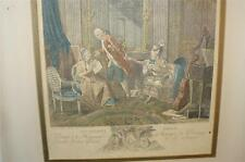 ANTIQUE 1820'S FRENCH ENGRAVING PRINT HAND COLORED LE BILLET DOUX