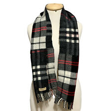 BURBERRY LONDON ENGLAND CHECK BLACK WOOL  Scarf 52/10 inches